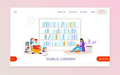 Public library landing web banner, people character sitting floor read textbook, university book depository flat vector illustration.