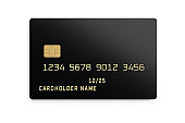 Black plastic card with chip isolated on white. 3D rendering.
