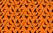 Halloween seamless pattern orange-black background. design for pillow, print, fashion, clothing, fabric, gift wrap. vector.