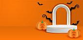็Happy Halloween sale theme product display podium. Design with bat on orange background. paper art style. vector.