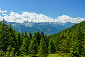 Mountain landscape at summer along the road from Mortirolo pass to Aprica