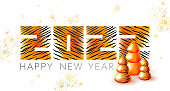 Tiger symbol Chinese new year. 2022 happy new year illustration. Tiger design with Christmas tree, snowflakes. Calendar tiger number 2022. Tiger stripes pattern 2022. New year background