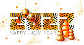 Tiger symbol Chinese new year. 2022 happy new year illustration. Tiger design with Christmas tree, ball, snowflakes. Calendar tiger number 2022. Tiger stripes pattern 2022. New year background