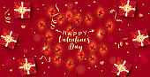 Happy Valentines Day. Vector illustration with red 3d gift boxes and confetti, glowing garlands with light bulbs in the shape of hearts. Valentines Day sale, banner, design