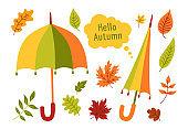 Umbrella leaves hand drawn cartoon set vector card