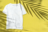 T-shirt mockup Floral summer template yellow background
