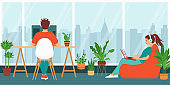 Woman is sitting with a laptop, man at a computer. Family works from home office. Remote work concept, freelance, distance learning. Coworking, interior workplace with houseplants. Vector illustration