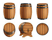 Barrels alcohol. Front and top view of wooden barrels with rum bar containers faucet hoop decent vector realistic illustration set
