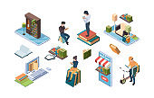 Online library. Isometric books people reading internet dictionary education concept icons garish vector illustrations