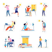People hot weather. Outdoor sunny unhealthy persons exhaustion tired male and female characters headache recent vector flat illustrations