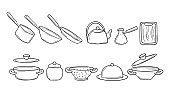 Clip-art set of kitchen tools in a hand-drawn sketch. Cooking utensils in doodle style. Pans, pots, kettle. Vector illustration isolated on white