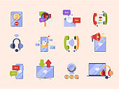 Communication concept icon. Ads pictures for app design online conversation internet dialogue e-banking coerce vector symbols set isolated