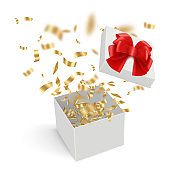 Surprise boxes. Opened gift cardboard containers with explode confetti ribbons decent vector realistic template