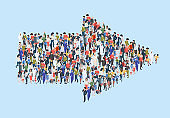 Crowd arrow. Success people walking in direction arrow shapes large growing group of persons garish vector marketing concept isometric illustration