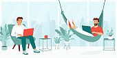 Young men work with a laptop in an open office, coworking space. Employees sit in an armchair and lie in a hammock while working. Gay family works, studies remotely from home. Vector illustration