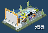 Outdoor cinema. Isometric open space park people watching movies from self cars vector