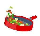 Fry vegetables in a frying pan