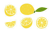 Fresh juicy lemons. Whole, halves, parts of vitamin fruits. Set of vector illustrations in flat style isolated on white
