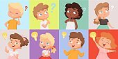 Thinking kids. Cute children have good idea. Find trouble solution teens vector avatars