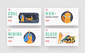 Coal Mining Landing Page Template Set. Extraction Industry Workers Characters at Quarry Loading Fossils on Mine Trolley