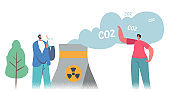 Green Co2 Taxes Concept. Male and Female Characters at Factory Pipe Emitting Toxic Smoke. Taxation for Nature Pollution
