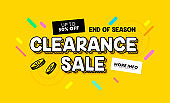 Clearance Sale Banner in Cartoon Style for Digital Media Marketing Advertising. End of Season Hot Offer, Shopping Card