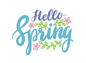 Hello Spring Banner, Springtime Season Greeting Lettering with Flowers and Green Leaves on White Background