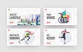 Disabled People Healthy Lifestyle Landing Page Template Set. Athlete Run Marathon, Sportsmen on Wheelchair or Prosthesis