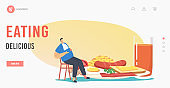 Delicious Eating Landing Page Template. Male Character Sit at Huge Plate with Traditional English Full Fry Up Breakfast