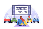 Couple at Car Cinema. Romantic Dating in Drive-in Theater, Automobiles Stand in Open Air Parking at Cityscape Background