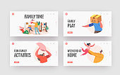 Family Time Landing Page Template Set. Happy Characters Parents and Kids Playing, Fooling in Room. Father, Mother, Kids