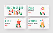 Children Drink Landing Page Template Set. Kids Drinking Water. Little Boys and Girls Characters with Cups and Bottles