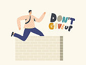 Successful Leader Business Man Character Jumping over the Wall, Businessman Running Sprint Race with Barrier, Leadership
