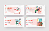 Women Daily Routine Landing Page Template Set. Young Female Characters Morning Hygiene Procedures Taking Bath, Comb Hair