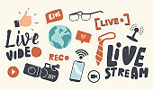 Set of Icons Live Video Stream Theme. Earth Globe, Hand with Thumb Up and Camera with Microphone, Smartphone with Wifi