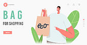 Male Character Buying Food in Reusable Eco Friendly Packing Landing Page Template. Smiling Customer Presenting Paper Bag