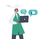 Happy Businesswoman Character Holding Laptop with Cogwheels, Thumb Up and Paper Airplane Icons Around. Brand Building