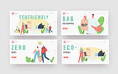 People Visit Shop with Reusable Eco Bags and Packaging Landing Page Template Set. Characters Use Ecological Packing