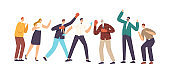 Businessmen Characters in Boxing Glove Fight with Referee Assistance and Colleagues Cheer. Men Managers Fighting