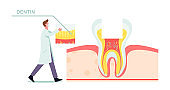 Healthy Teeth Anatomy and Structure Concept. Tiny Dentist Doctor in Mask and White Robe Put Part of Dentin on Huge Tooth