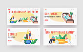 Relation Problems Landing Page Template Set. Couple Troubles, Quarrel, Husband and Wife Characters Scandal, Family Swear