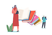 Paper Book vs E-book Concept. Characters Reading Using Innovative Technologies Ebooks and Smartphones, Digitization