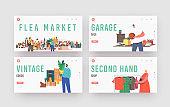Flea Market Landing Page Template Set. Characters Shopping Antique Things. Garage Sale, Outdoor Retro Bazaar