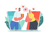 Online Date, Modern Romance Relationship Concept. Male a Character Giving Present to Woman via Smartphone Screen