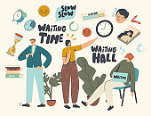 Long Wait, Slow Time Concept. Tired Bored Male or Female Characters Too Long Waiting in Office Hall, Airport or Hospital