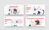 Neurology Landing Page Template Set. Doctor Neurologist, Neuroscientist, Physicians Study Brain Connected to Display