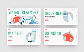 Water Treatment System Landing Page Template Set. Tiny Scientist Characters Use Filtration Aqua Filter Jug for Cleaning