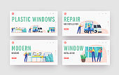 Plastic Windows Landing Page Template Set. Pvc Glass Producing, Delivery, Installation. Worker Characters Installing