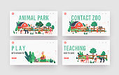 Little Kids Visit Contact Zoo Landing Page Template Set. Children Feeding Animals, Characters Petting Domestic Llama