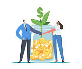 Finance Help, Mutual Fund Business Concept. Office Characters Businessman and Businesswoman Shaking Hands at Huge Jar